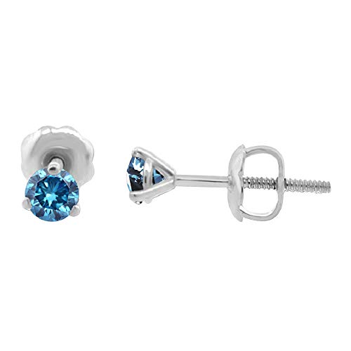 1/4 ct tw Blue I1-I2 Natural Round Diamond Stud Earrings Three Prong Setting 14K White Gold Screw Back