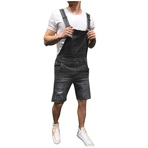 WOCACHI Mens Bib Overall Shorts Denim Jumpsuit Jeans Wash Broken Pocket Dungaree Suspender Pants 2019 Summer Deals Under 10 Dollars Sale Bargains New Walkshort Button Knee Length Cargo Coverall