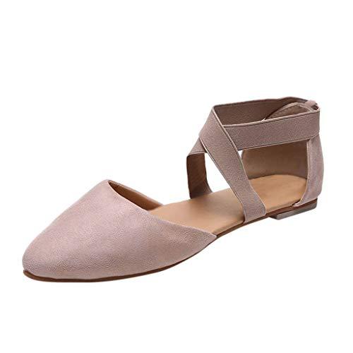 - Sunhusing Ladies Casual Flat Bottom Pointed Toe Leopard Print Cross Elastic Band Strappy Sandals Single Shoes Khaki