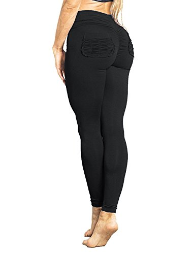 SEASUM Women Scrunch Butt Yoga Pants Leggings High Waist Waistband Workout Sport Fitness Gym Tights Push Up S