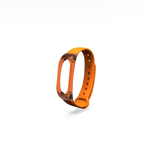 Price comparison product image Silicone Crystal Carbon Fiber Strap For Mi Band 2 Smart Wrtband Smart bracelet Long strap for band 2 - orange