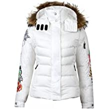 Fire and Ice Embroidered Sale-d White Parka
