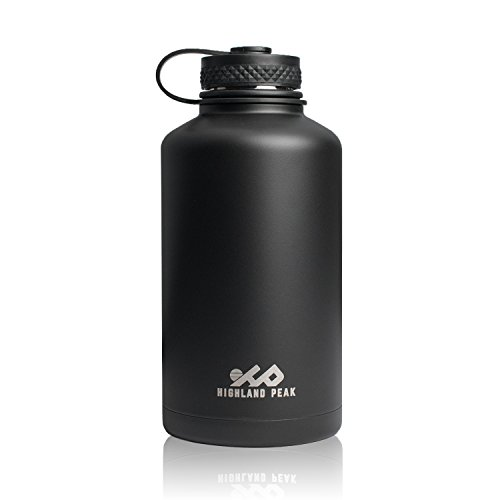 Highland Peak 64 oz Stainless Steel Insulated Water Bottle and Beer Growler Wide Mouth Canteen - Hot and Cold - BPA Free Metal Thermos Flask