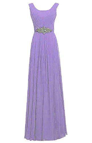Kleid Hellviolett lang Strass Trägern Emily Rundhalsausschnitt Party Beauty Sw0qIfxgg