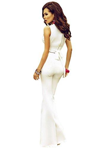 New Damen Weiß 2Stück geknotet Bauchfreies Top & breit Bein Hose Set Club tragen Casual Kleidung tragen, Leggings Party Größe UK 12