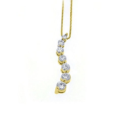 14k Yellow Gold Diamond Journey Pendant .75 Carats