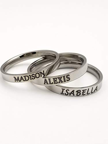 Stainless Steel Personalized Laser Engraved Rings, silvertone, 3mm, customized, name ring, teenager gift, free shipping