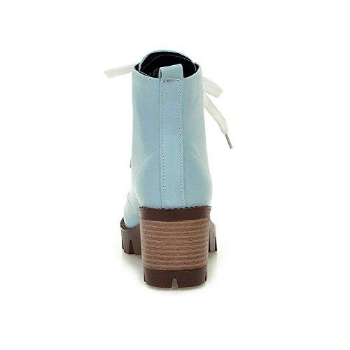 BalaMasa Blue Boots Solid Platform Heels Up Lace Round Kitten Womens Urethane Toe ABL09722 rn6q4r1