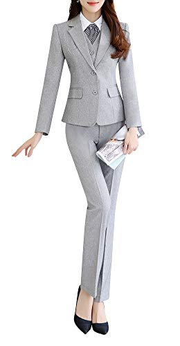 Women's Three Pieces Office Lady Stripe Blazer Business Suit Set Women Suits Work Skirt/Pant,Vest Jacket (Light Grey-688, 2XL) ()
