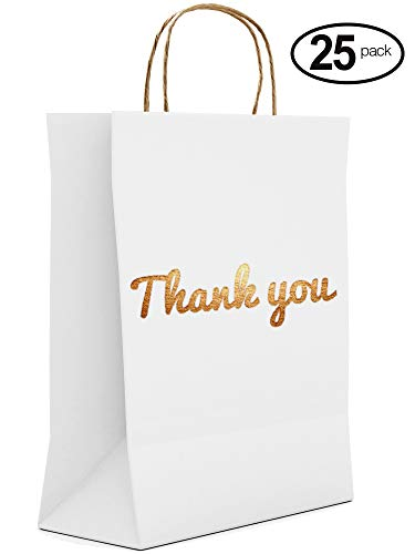 (White Thank You Gift Bags - 25 Luxury Pack - 10.5