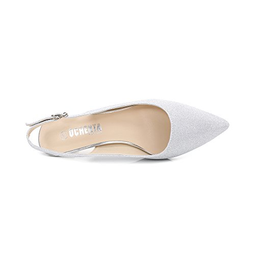 Trasera La En Hebillas Tiras Y Zapatos Espigones Parte Tacón Para Plateado Mujer Glitter De Ochenta Con Clásicos zBv71zwq