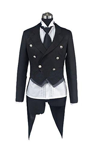 Ciel Phantomhive Costume Cheap (UU-Style Black Butler Kuroshitsuji Sebastian Michaelis Cosplay Tuxedo Jacket Pants Outfit Uniform)