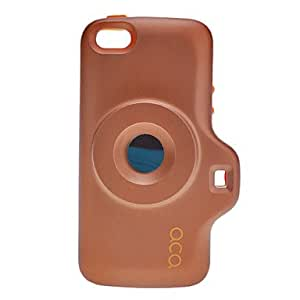LCJ Creative Toy Cemara Designed Hard Case with Back Mirror and Strap for iPhone 5/5S (Assorted Colors) , Brown