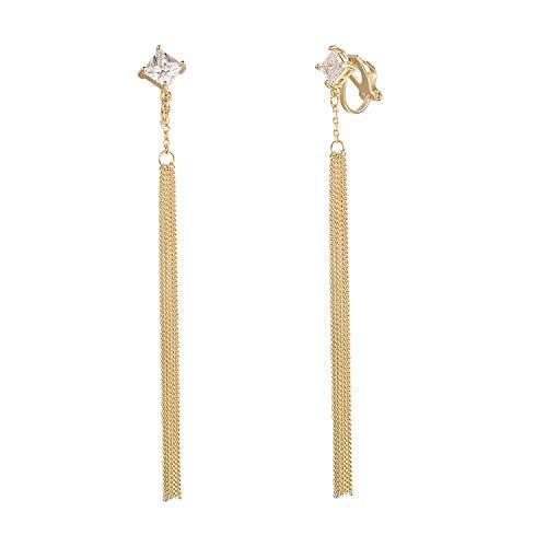 Yoursfs Gold Plated CZ Rhinestone Long Tassel Drop Earrings and Clip on Earrings No Pierced for Women ()
