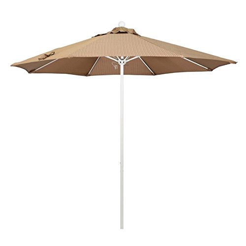 - California Umbrella 9' Round Aluminum/Fiberglass Umbrella, Push Open, White Pole, Olefin Terrace Sequoia
