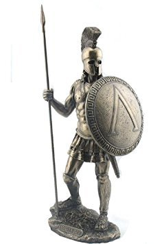 Spartan Warrior with Spear and Hoplite Shield Statue Sculpture ()