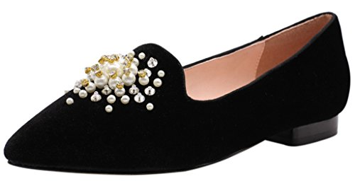 Jaro Vega Womens Pointed Toe With Pearl Decoation Pleuche Flats Black ovpxnAy