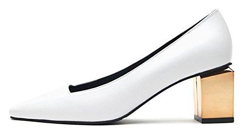 Scarpe Con Tacco Medio In Vera Pelle Karen Da Donna, Disponibili In Bianco E Grigio Bianco