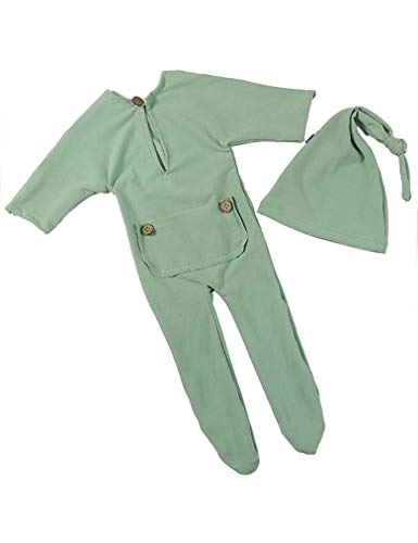 (infantacce Newborn Hat and Romper Set Baby Photography Props Outfit Clothes Cap (Green))