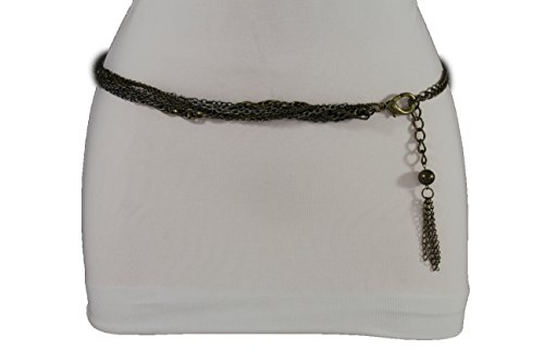 Tone Belt Link Chain Silver (TFJ Women Skinny Belt Hip Waist Metal Chains Strands S M L Antique Gold Silver)