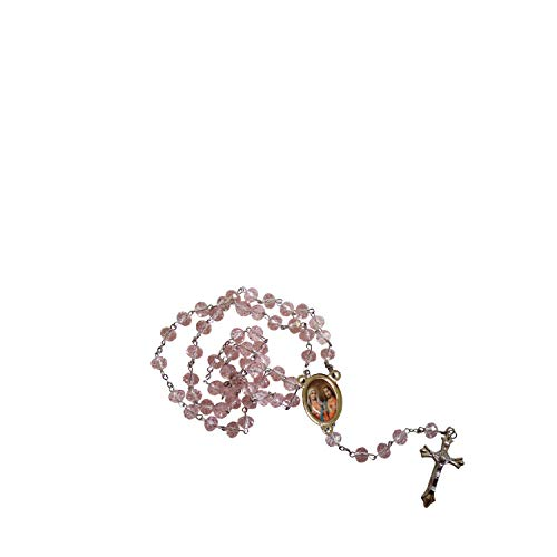 Gifts by Lulee, LLC The Sacred Hearts of Jesus and Mary Rose Quartz Faceted Rondelle 8mm Beads Rosary with Silver Plated Centerpiece and Crucifix Includes a Blessed Prayer Card