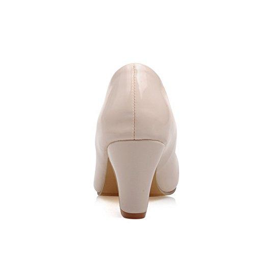 Balamasa Damene Trekke På Chunky Hæler Round-toe Patent-lær Pumper-sko Beige