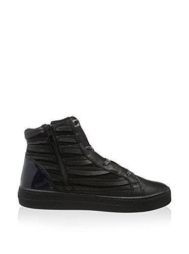 Cafènoir EG430 - 131 nero grigio sneaker donna alla caviglia stringata con strass e zip n° 38