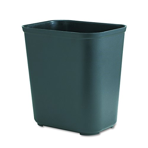 (Rubbermaid Commercial FG254300BLA Fiberglass Rectangular Fire-Resistant Trash Can, 7-Gallon, Black)