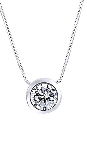 0.5 Ct Round Cubic Zirconia Solitaire Pendant Necklace In 14K White Gold Over Sterling Silver (0.5 Ct Solitaire Pendant)