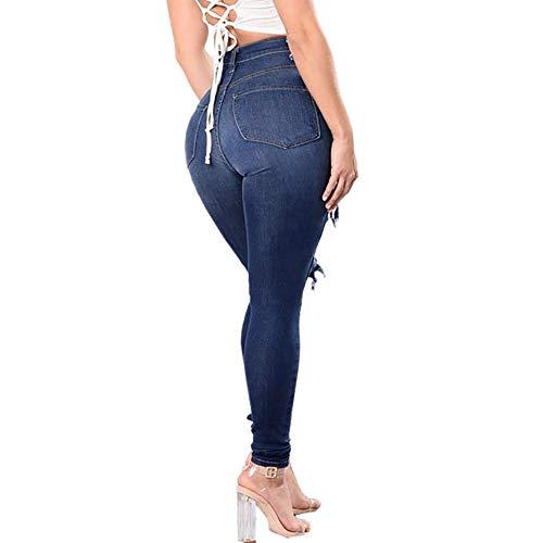 Pitillo elástico de Slim de Vaqueros Talla Pantalones Grande Rasgado Mujer STRIR Pantalones Pantalones 7qTwp88x