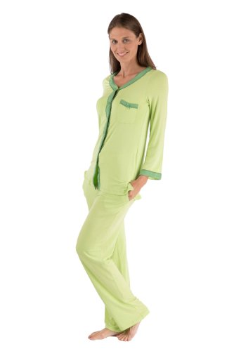 Women's Long Sleeve Pajama Set - Button Up Sleepwear by Texere (Eco Nirvana, Lime, 3X/Petite) Beautiful Presents for Her Everyday WB0005-LME-3XP