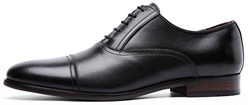 DESAI Men's Leather Dress Shoes Cap Toe Lace-up Oxford (11 M US, Black) by DESAI (Image #2)