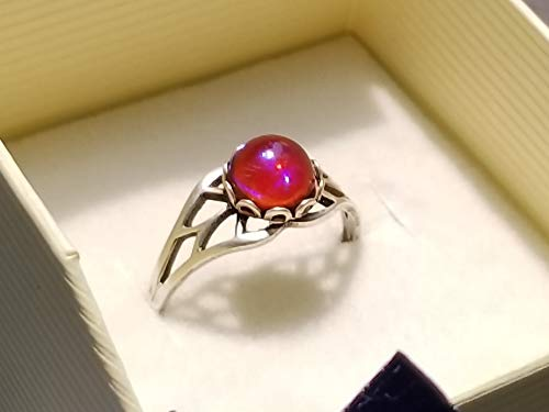 (Petite red fire opal ring, 7mm round, glass cabochon, silver finished, bezel setting adjustable filigree)