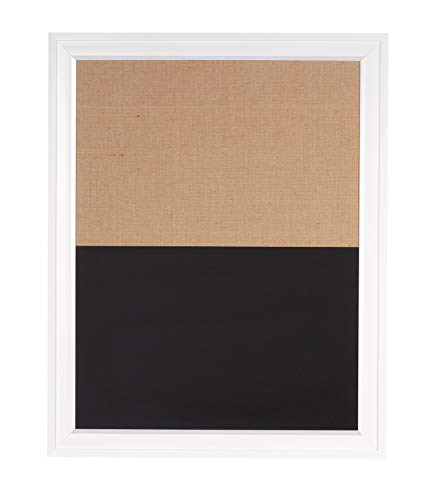 DesignOvation 209401 Bosc Combination Magnetic Chalkboard and Fabric Pinboard, White