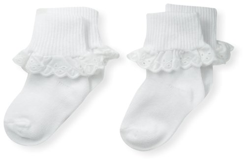 (Country Kids Baby-Girls Newborn Eyelet Lace Sock 2 Pairs, White, 3-12 Months)