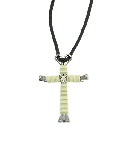 IntercessionTM Horseshoe Nail Cross - Made in USA (Large - White, Antique) ()