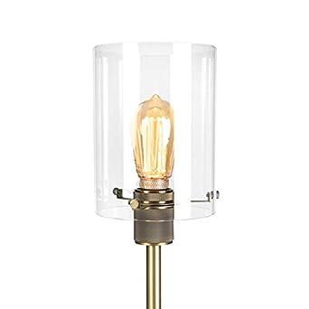 QAZQA Moderno Lámpara de pie moderna bronce con cristal ...
