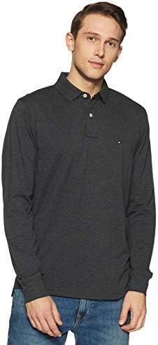 832f40e2 TOMMY HILFIGER Men's Plain Regular Fit Polo (A8AMK218_Charcoal HTR_Small)
