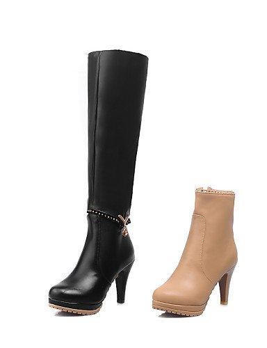De 5 Tacón Uk8 Eu40 Black us9 Cn41 Caqui Eu42 Zapatos Cn43 Uk7 us10 Botas Black Cono Xzz Negro A Mujer 5 Moda La Semicuero Vestido 5ZftwnTqx