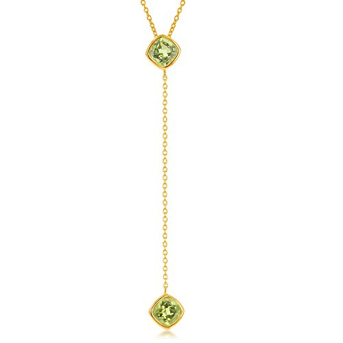 - Sterling Silver Gold Tone Square Peridot Lariat Necklace