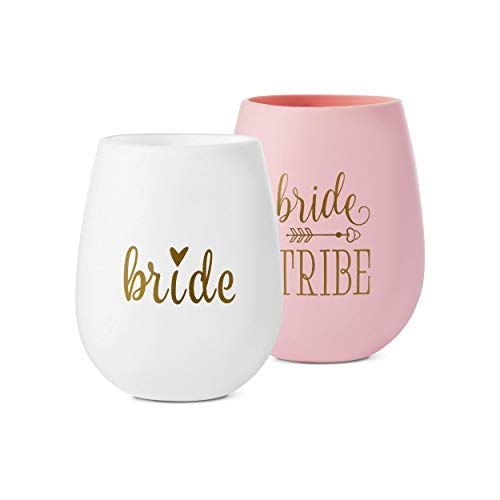 10 piece set of Bride Tribe and Bride Silicone Wine Cups, Perfect for Bachelorette Parties, Weddings, and Bridal Showers -