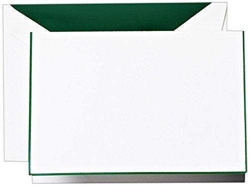 Crane & Co. Hunter Green Bordered Pearl White Note (CF1427)