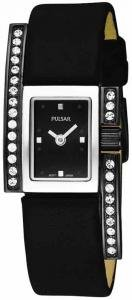 Pulsar PEGD11 16 Stainless Steel Case Black Leather Mineral Women's Quartz Watch