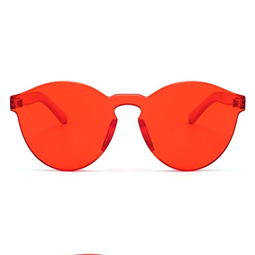 Armear Oversized One Piece Rimless Tinted Sunglasses Clear Colored Lenses (Red, - Sunglass Red