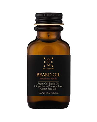 USDA Organic Beard Oil For Men - Extra Hydrating & Nourishing Beard Oil for Beard Growth, Healthier Beard Hair & Softer Skin Care - Prevent Dandruff & Tame Frizzy Hair (Sandalwood Vanilla, 2 oz)