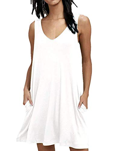 LuckyMore Women's Summer Casual T Shirt Dresses Beach Cover Up Plain Pleated Tank Dress White L