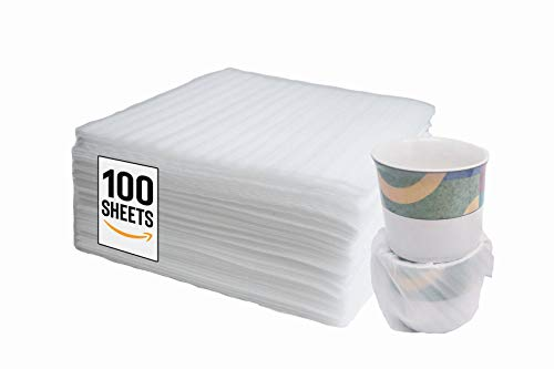 """- 100 Count - Cushion Foam WRAP Sheets - 12"""" x 12"""" Safely Wraps and Protects Dishes, Plates, Glasses, Cups, Furniture Legs Or Edges, Supplies - for All Purpose Protection, Storage, and Moving"""