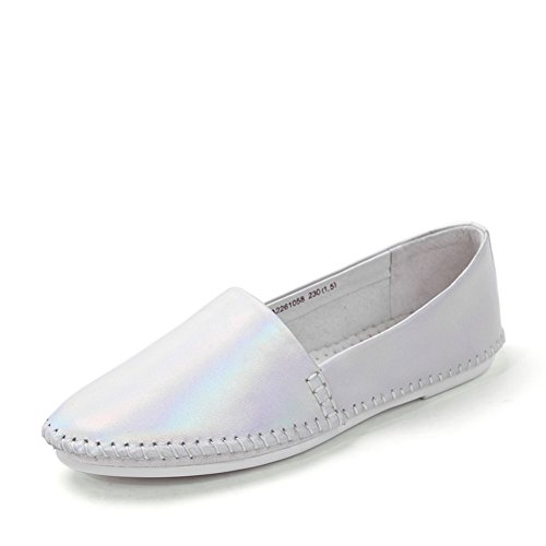 Round resorte de dedo del pie/Zapatos de pies planos/Zapatos de mujer plata