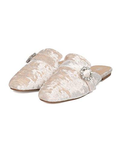 Alrisco Femme Strass Boucle Mule - Mocassin Velours Glisse - Décontracté Haute Couture Polyvalent Mule Pantoufle - Hc42 Par Nature Breeze Collection Velours Beige