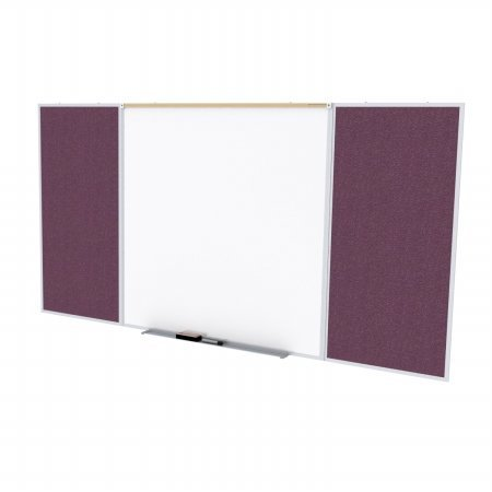 Ghent SPC416D-V-187 4 ft. x 16 ft. Style D Combination Unit - Porcelain Magnetic Whiteboard and Vinyl Fabric Tackboard - Berry by Ghent